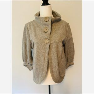 Mavi Cropped Button Blazer/Coat Grey Size Medium